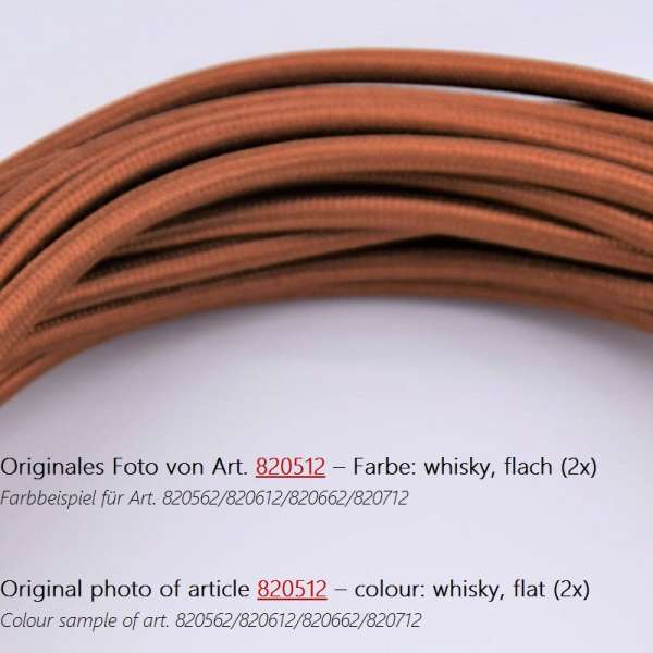 Textilkabel Stoffkabel flach 2x0,75mm² whiskey